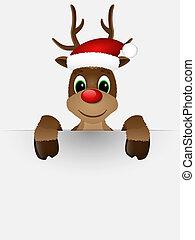 Reindeer mit roter Nase und Weihnachtsmannhut.