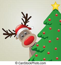 Reindeer mit Santa Hut hinter chri.