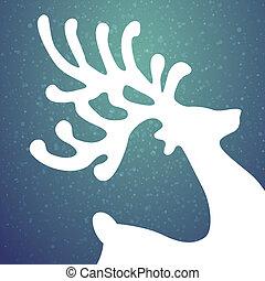 Reindeer Winter Hintergrundsterne und Schnee.