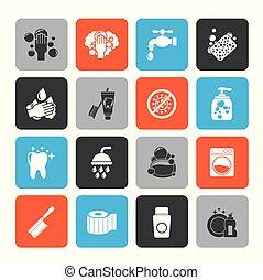 Reinigungs- und Hygiene-Icons.