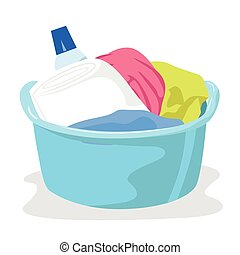 reinigungsmittel, becken, voll, wäscherei
