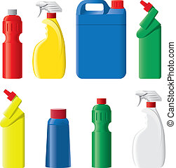 reinigungsmittel, satz, flaschen, plastik