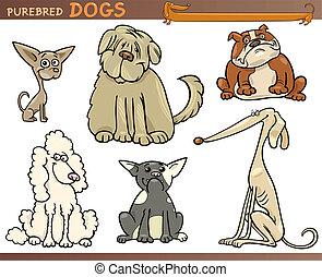 Reinrassige Hunde Cartoon-Sets