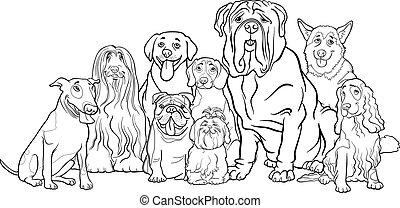 Reinrassige Hunde-Gruppen-Zeichen fürs Farben