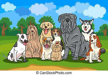 Reinrassige Hundegruppen-Karikatur-Illustration