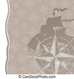 Reise- und Abenteuervektor-Hintergrund mit Kompass stiegen & Segelschiff