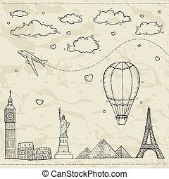 Reise und Tourismus Illustration.