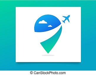 Reiseagentur, Tourismus App und Reisen Logo, Abenteuertouren, Icon und Element.