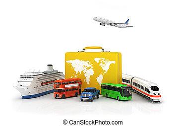 Reisekonzept. Gelber Koffer mit Transport auf weißem Hintergrund. Bus, Auto, Zug und Schiff