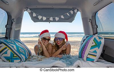 reisen, sandstrand, mädels, sommer, feiern, weihnachten, zwei