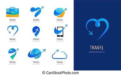Reisen, Tourismusagentur Logo Design, Symbole und Symbole.