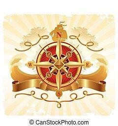 Reisen und Abenteuer des alten Vektors mit goldenem Kompass Rose