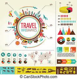 Reisen und Tourismus sind mit Daten Ikonen und Elementen verbunden