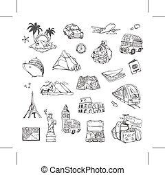 Reisen, Zeichnungen von Symbolen eingestellt.