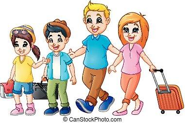 Reisende Familie im Urlaub.