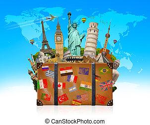 Reisetasche voller berühmter Monumente der Welt.