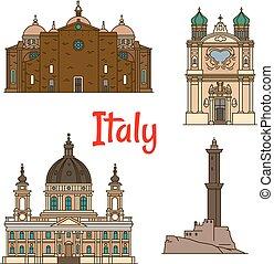 Reiseziele Italiens, dünne Linien Icons.