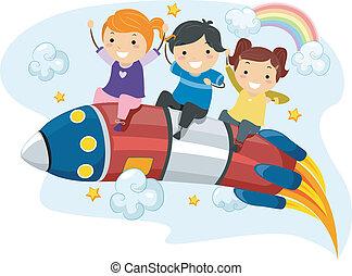 reiten, kinder, rakete