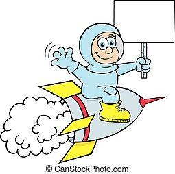 reiten, während, karikatur, junge, besitz, raum, zeichen., schiff, klage