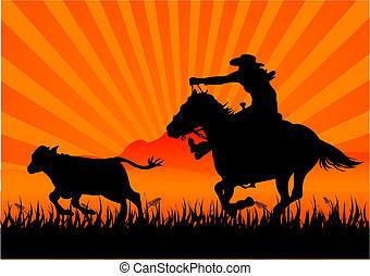 Reitender Cowboy.