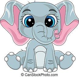 reizend, baby, karikatur, elefant, sitzen