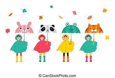 reizend, bunte, lustiges, herbst, regenmäntel, umbrellas., mädels, szene, blätter, herbst, knaben, verschieden, besitz, herbst, spaß, spielende , kinder, haben