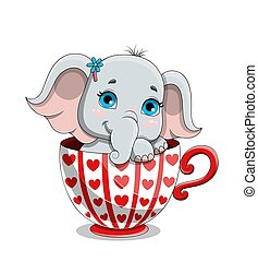 reizend, elefantenkind, bezaubernd