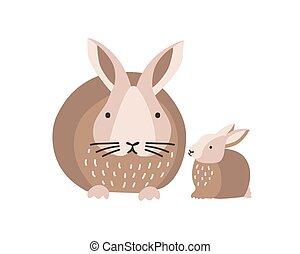 reizend, familie, lustiges, bunte, freigestellt, hintergrund., wald, weißes, reizend, kaninchen, wohnung, elternteil, kanninchen, baby, youngling, karikatur, child., tiere, illustration., pets., vektor, mutter, wild, oder