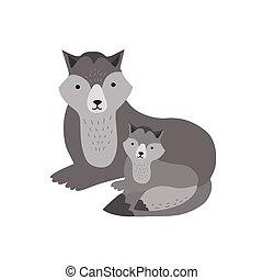 reizend, familie, puppy., lustiges, kind, kindisch, freigestellt, hintergrund., wald, weißes, bezaubernd, wohnung, elternteil, animals., baby, fleischfressend, junger hund, karikatur, illustration., vektor, wolf, mutter, wild, oder