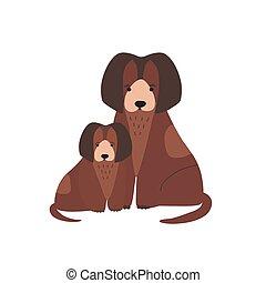 reizend, familie, welpe, inländisch, puppy., lustiges, kind, kindisch, freigestellt, hintergrund., weißes, pets., wohnung, elternteil, baby, fleischfressend, junger hund, karikatur, tiere, illustration., hund, vektor, mutter, oder