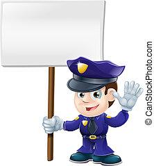 reizend, illustrat, mann, polizeizeichen