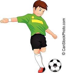 reizend, junge, fußball, spielende