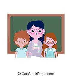 reizend, junge, mädchen student, glücklich, tafel, tag, schule- lehrer, lehrer