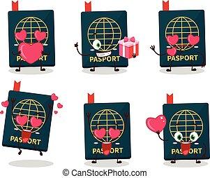 reizend, karikatur, emoticon, zeichen, reisepaß, liebe