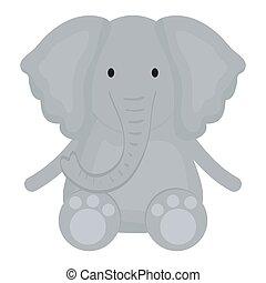 reizend, kindisch, zeichen, elefant