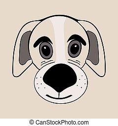 reizend, kopf, lustiges, hund, junger hund, karikatur