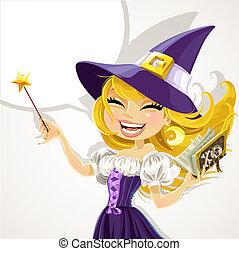 reizend, magick, hexe, junger, zauberstab