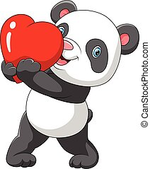 reizend, roter panda, herz