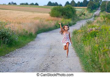 reizend, sieben, sommer, jahre, rennender , sonnenuntergang, m�dchen, filds, tag, straße
