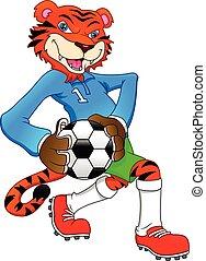 reizend, tiger, spielen fußballs