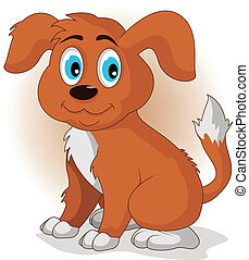 reizend, vektor, karikatur, junger hund, hund