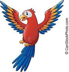 reizend, vogel, karikatur, macaw, fliegendes