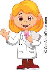 reizend, wenig, weiblicher doktor, w, karikatur