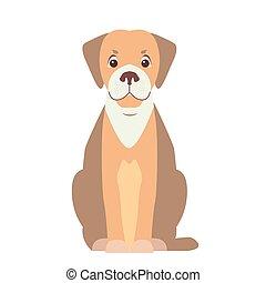 reizend, wohnung, hund, beagle, vektor, karikatur, ikone