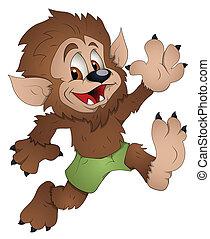 reizend, zeichen, karikatur, werwolf
