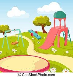 Rekreations-Kinderpark mit der Wiedergabeausrüstung Vektorgrafik