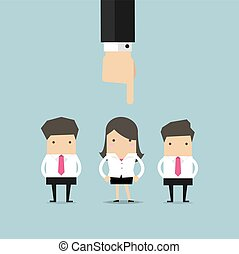 Rekrutierungskonzept Hand auf Geschäftsfrau.
