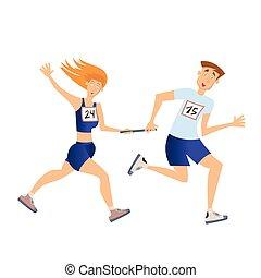 Relay-Rennen. Laufender Mann und Frau. Vector Illustration, isoliert auf weiß.