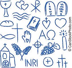 Religiöse Kreidesymbole.