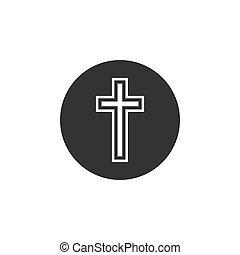 Religion, christliche Kreuz-Ikone. Vector Illustration, flaches Design.